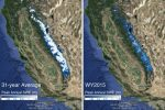 The image on the left shows the 31-year average snow water equivalent in the Sierra Nevada mountains compared with the snow water equivalent in 2015.