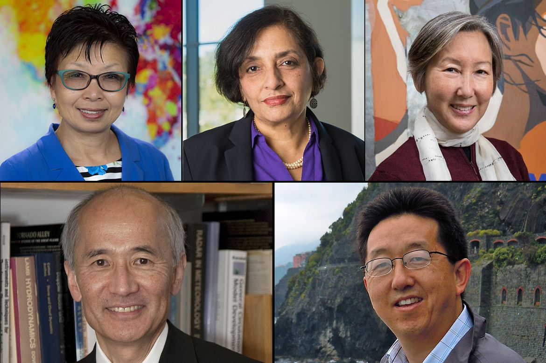 Cindy Fan, Jayathi Murthy, Karen Umemoto. Bottom row from left: Roger Wakimoto and David Yoo.