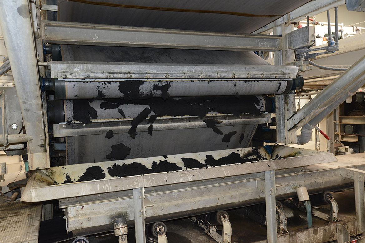 """Biosolid """"sludge"""" after being removed from wastewater at a water treatment plant."""