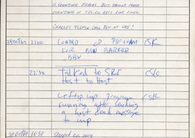 """Note made by Charley Kline at UCLA after """"LO"""" was successfully transmitted to Bill Duvall at SRI."""
