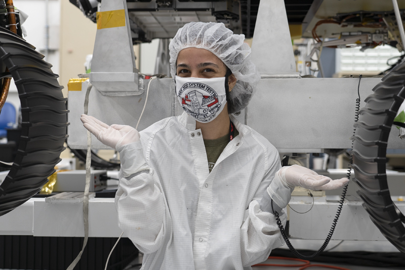 Anais in the cleanroom with OPTIMISM