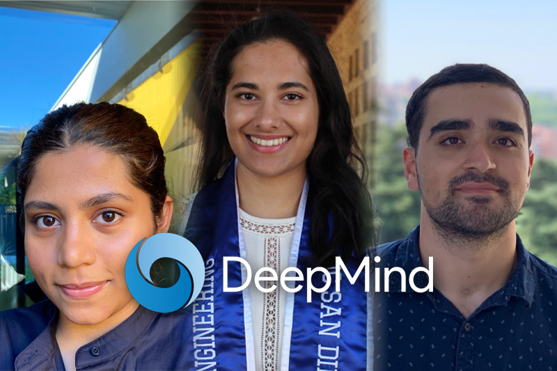 Three UCLA Computer Science Students Named DeepMind Scholars. Aishni Parab, Puja Trivedi and Nima Zaghari.