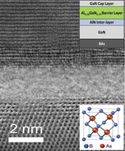 An electron microscopy image of a gallium nitride-boron arsenide heterostructure interface at atomic resolution
