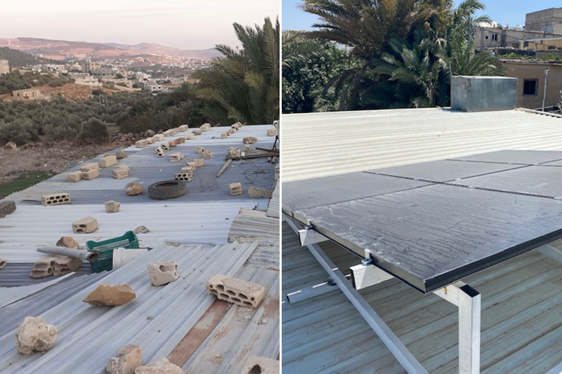 Jerash Refugee Camp home before Design Create Solar members updated its roof and after solar panel installation