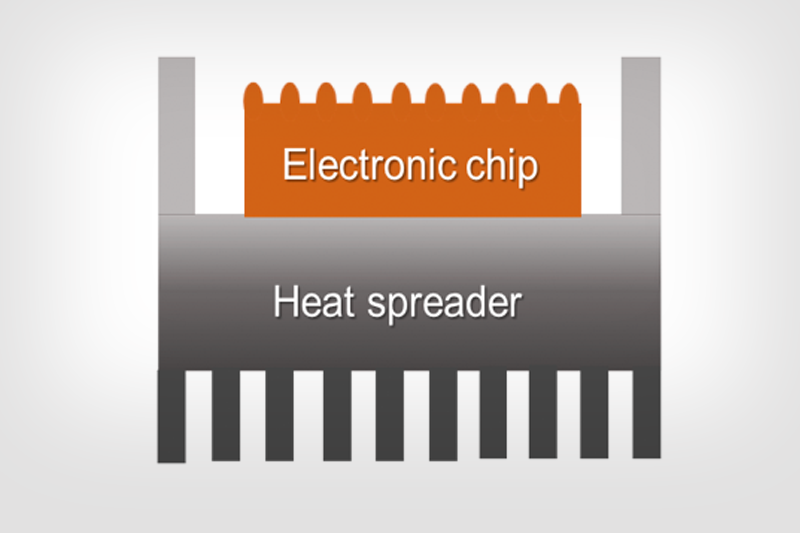 Schematic illustrating thermal management in electronics chip packaging
